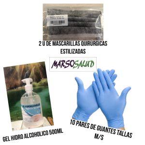 2 mascarillas quirúrgicas, 10 pares de guantes y gel hidro alcohólico 500ml