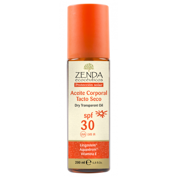 Aceite Corporal Solar tacto seco SPF30 Zenda 200ml.