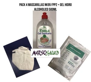 Pack 4 mascarillas NK95 FPP2 + gel hidro alcoholico 500ml