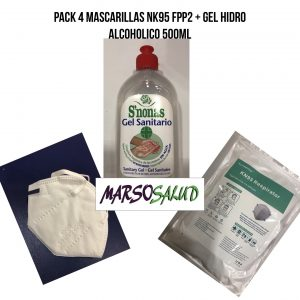 Pack 4 mascarillas NK95 FPP2 + gel hidro alcoholico 500ml