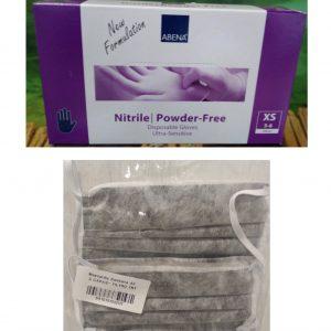 Pack caja de guantes 100 ud xs con mascarillas quirúrgicas 3 capas
