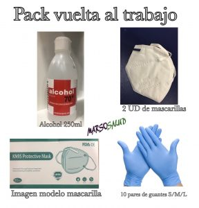 pack 2 mascarillas kn95 + 10pares de guantes + alcohol 250ml