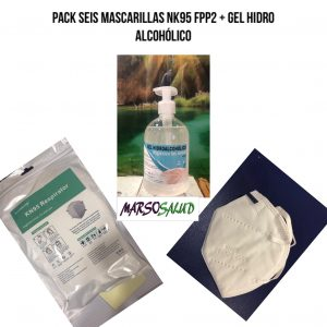 pack 6 mascarillas NK95 FPP2 + gel hidro alcoholico 500ml